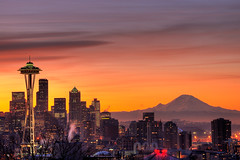 Seattle Sunrise (rkazda) Tags: seattle city morning winter orange mountains cold sunrise dawn downtown skyscrapers explore spaceneedle kerrypark mtrainier hdr 18200mmf3556gvr nikkor18200vr lightiq