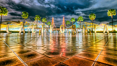 Welcome to California [Explored] (big_pixel_pusher) Tags: sky reflection wet water rain night clouds angle disneyland low tripod disney palm cal dca hdr disneycaliforniaadventure gorillapod bppfoto