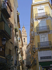 Narrow Streets, Valencia (Lydie's) Tags: streets church valencia architecture spain mediterranean belltower spanish balconies narrow calles hccity