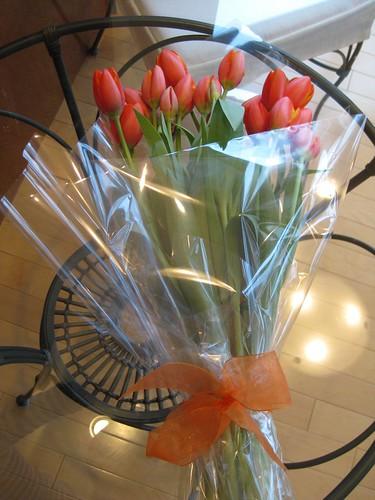 Orange Tulips with Bow