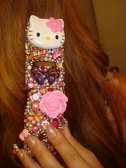 talking on my Hello Kiitty cell phone (Pinky Anela) Tags: pink hk cute japan japanese handmade hellokitty cell sanrio kawaii