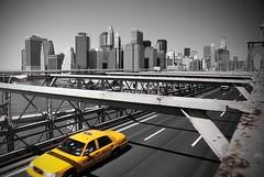 Cab over Brooklyn Bridge (Le Shann) Tags: new york nyc bridge yellow brooklyn manhattan cab selective