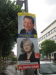 Wahlplakate: Jens Lücking (FDP), Dr. Ottilie Scholz (SPD)