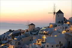 Oia Sunset (MarcelGermain) Tags: travel houses sunset sea summer windmill beauty architecture buildings geotagged island greek islands evening nikon holidays horizon aegean windmills explore santorini greece ia ea oia cyclades cycladic  d80   marcelgermain