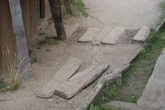 Bohlenweg an der Seitentür des Kammmachershaus in  Haithabu 19-07-2009
