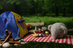 Mr. Peanut goes camping (TADA's Revolution) Tags: bear camping elephant miniature handmade oneofakind ooak crochet craft tent plush softie stuffedanimal kawaii rement amigurumi diorama crafting fourlegged megahouse  whipupcalendar2010