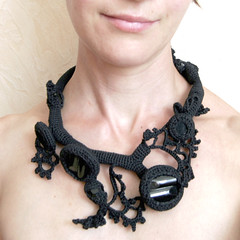 Freeform crocheted necklace mystic black 1 (Jane Bo) Tags: necklace crochet balck freeform
