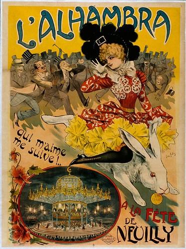 009- Affiche propaganda del Alhambra para la fiesta de Neuilly-siglo XIX