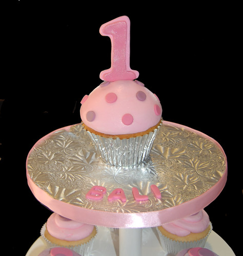 purple and pink 1st birthday cupcake tower jumbo cupcake smash cake topper