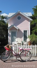 Precious Cottage ~ Seaside (Suzanne MacCrone Rogers ~ Italian Girl in Georgia) Tags: pink flowers summer white house colour brick beach home girl bicycle daisies fence georgia italian chairs cottage photograph etsy cruiser picket shabby adirondak