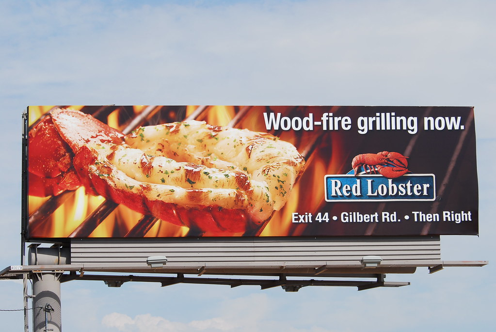 Wood-fire grilling now at Red Lobster - Santan Freeway Loop 202 billboard