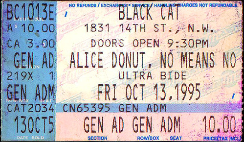 19951013 - NoMeansNo w Alice Donut - ticket stub - Black Cat