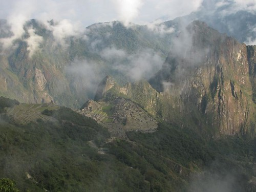 view of Machu Picchu during the descent
