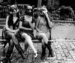 Adventures of the Fox, Bear, and Wolf (Kate Biel) Tags: bear park friends summer blackandwhite bw film animals relax wolf sitting outoffocus odd masks dresses fox unusual unreal magical outoftheordinary
