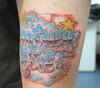 chrome lettering grafitti tattoo 2 Tattooed by Johnny