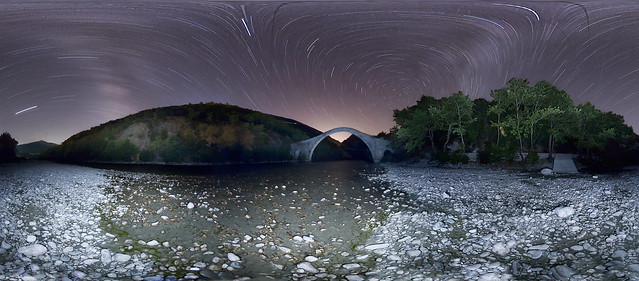 star trails at Plaka bridge