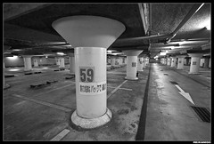 (The 2-Belo) Tags: blackandwhite parkinggarage empty lonely carpark ultrawide    tokina1116mm