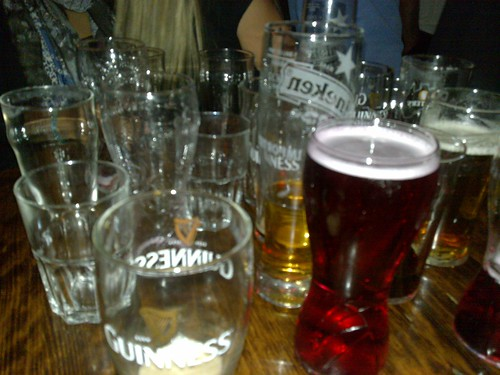 Glasses on our table... almost all empty