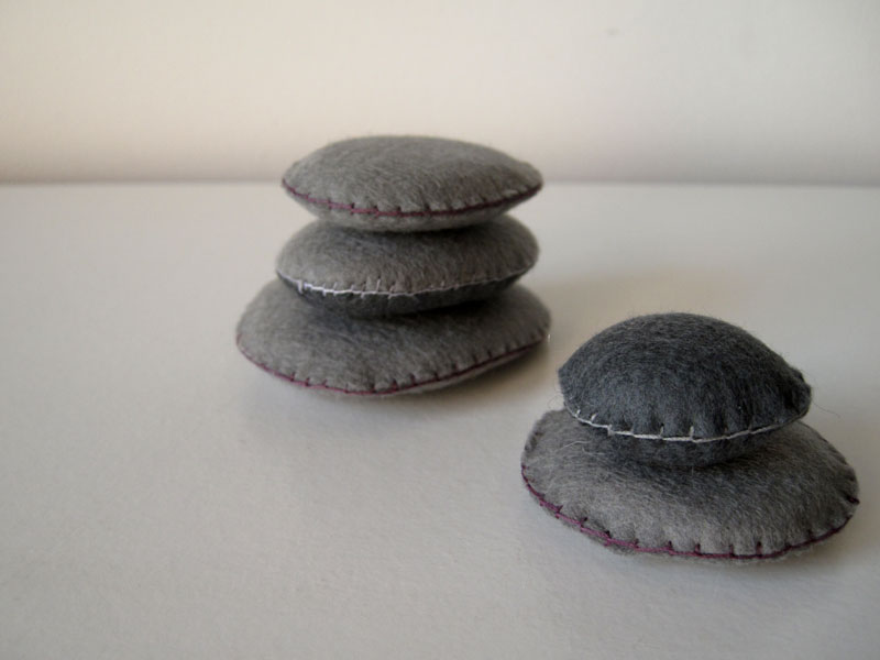 rocks with felt covers