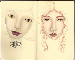 faces study - graphite with colored pencil