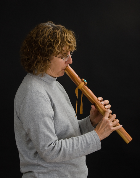 Sue with her wooden flute