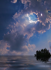 Cloud rings water (Steve Sorrels) Tags: sky sun clouds photoshop 911 calico sunrays columbiamissouri myyard stevesorrels ~thesecretgarden~