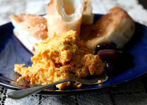 carrot dip and olives