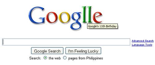 google 11 birthday logo googlle