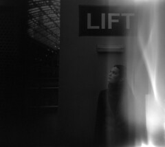 Ascension (ljosberinn) Tags: blackandwhite 120 film beauty holga lift feminine ghost divine lightleak trainstation mysterious kingscross ascension intervention ilfordhp5plus maríahelga