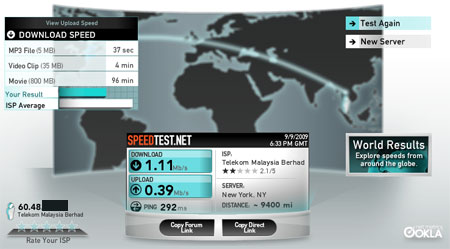 TM Streamyx speedtest : FAST
