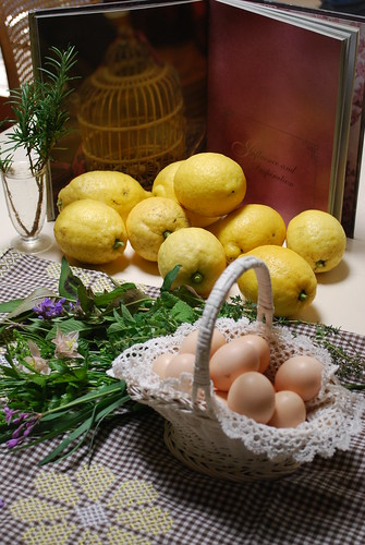 Home grown Bantam eggs, herbs and lemons