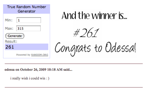 Winner of Frankie Giveaway