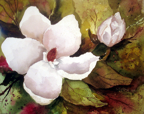 Magnolia Watercolor Painting 8x10 inches