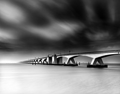 Vanishing - bridge study 2 (Frank Toepfer) Tags: longexposure bridge sea blackandwhite thenetherlands zeelandbridge bestcapturesaoi