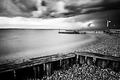 Silky 30 seconds #2 (E y e V i s i o n) Tags: wood longexposure bw storm beach water monochrome weather landscape waves wind fineart smooth surface calm silky