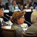 US Sec. of Commerce Gary Locke (left), US Senator Kay Hagan (center) and NC State Chancellor Randy Woodson listen to a speaker.