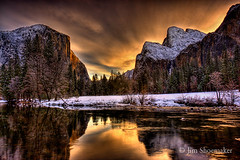 Valley View, Sunrise, Yosemite National Park (Jim Shoemaker Photography) Tags: california ca trees winter usa mountain snow nature water clouds sunrise river landscape waterfall canyon valley yosemite yosemitenationalpark elcapitan hdr valleyview mercedriver bridelvielfalls