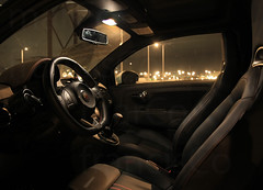 Fiat 500 Abarth Interior (Marco_Francisco) Tags: street bridge sea sky black car rio race speed river mar fiat preto ponte scorpion badge passion carro karl rua 500 paixo tejo ceu velocidade abarth docas escorpio embelema