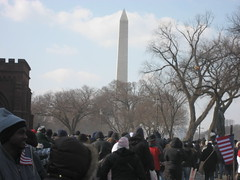 Everyone leaving as the Monument looks on