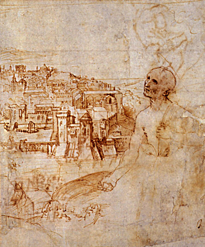 1504  Raphael    Saint Jerome with a view of Perugia  Pen and Brown ink   24.4x20.3 cm  Oxford, The Ashmolean Museum