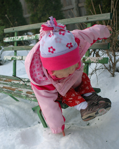 Eva testing the snow