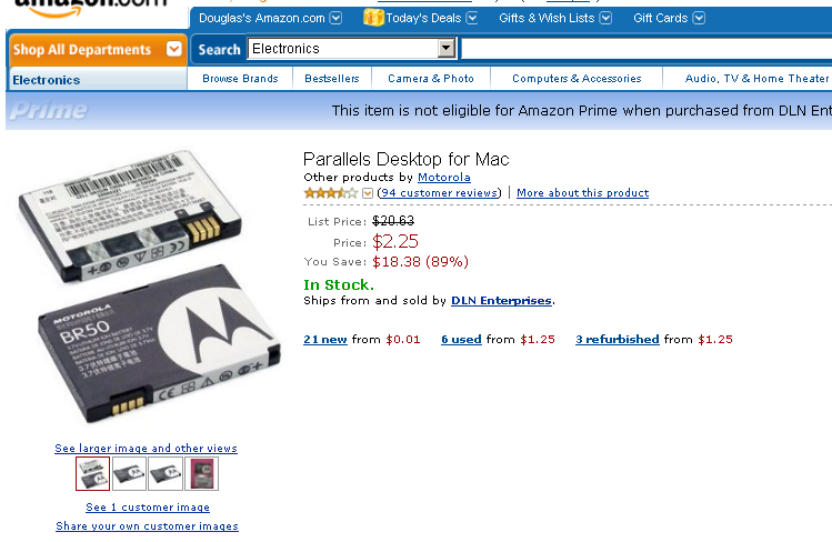 Amazon Parallels Screwup