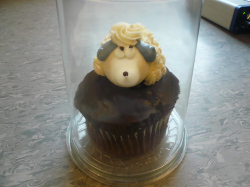 Sheep-topped cupcake