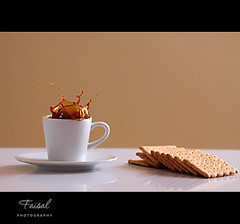Simply ... S p l a s h (Faisal | Photography (I'm Back)) Tags: light coffee beautiful speed high fantastic shot stunning biscuits splash 2009 turkish   canonef70200mmf28lisusm canoneos50d   manfrotto190xprob  quotidiae faisalal3liphotography