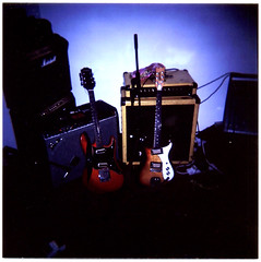 Nirvana Guitars (Sumlin) Tags: 120 film glass yellow print lens photography holga nirvana flash guitars twin slide iso fender medium format 100 february 1970s studios et fellow coloured 2009 derby multi univox epiphone practise reverb mosrite hiflier gcfn dubrek et270
