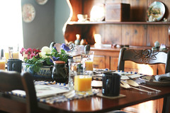 day two (simple tess) Tags: morning travel flowers blue vacation sunlight me sunshine breakfast table vegan maine roadtrip mini diningroom meal setup orangejuice hutch bb bedandbreakfast sunlit tabletop searsport carvedchairs