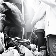 Sleep, Crowd (JanneM) Tags: street longexposure sleeping bw woman 6x6 tlr film japan mediumformat subway jan crowd rail d76 human cap 大阪 日本 hp5 osaka kansai ilford yashica janne 関西 moren janmoren