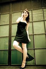 Kicking off (Matt Preston Photography) Tags: white london window smash model shoes break dress young brunette blackdress nicolleshergold