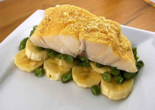 Cod Plated on Micro Beans and Bananas