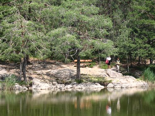 Malerische Uferlandschaft am Göllersee bei Aldein